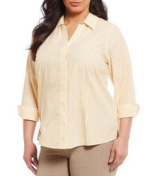 Plus Size Taylor Gold Label Non-Iron 3/4 Sleeve Button Front Stripe Cotton Shirt