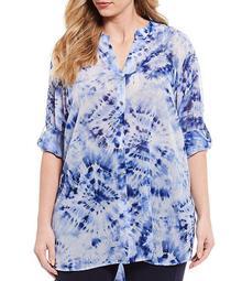 Plus Size Tie Dye Chiffon Roll-Tab Sleeve Button Front Tunic