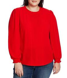 Plus Size Long Sleeve Smocked Cuff Pintucked Blouse