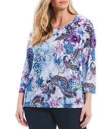 Plus Size Embellished Detail Floral Medallion Print 3/4 Sleeve Knit Jersey Top
