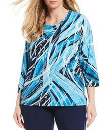 Plus Size Navy Blue Waves Print Knit Jersey Foil Detail 3/4 Sleeve Top