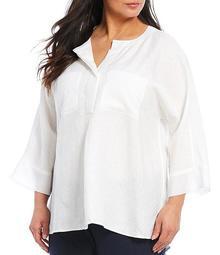 Plus Size Linen Oversize 3/4 Cuff Sleeve Hi-Low Tunic
