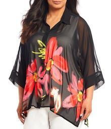 Plus Size Big Flower Print Chiffon Button Front Short Sleeve Blouse