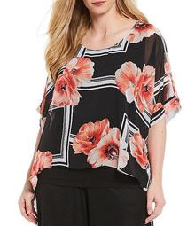 Plus Size Geo Floral Print Scoop Neck Dolman Sleeve Popover Top