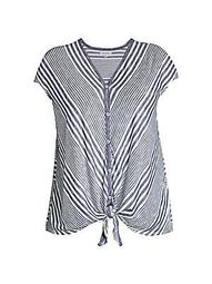 Plus Striped Knotted Top