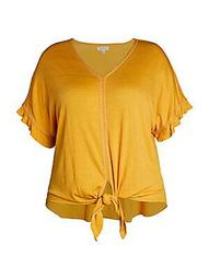 Plus Knotted V-Neck Top