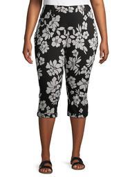 Terra & Sky Women's Plus Size Pull On Floral Capri Jegging