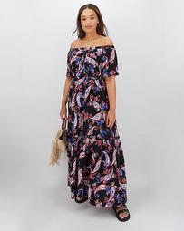 Paisley Print Crinkle Square Neck Dress