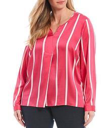 Plus Size Long Sleeve Stripe Split Neck Top