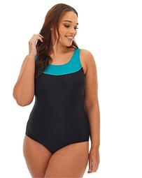 Paneled Top Sports Swimsuit