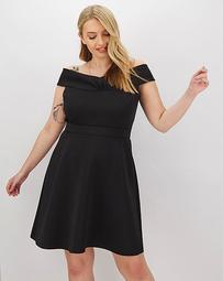 Black Off-the-Shoulder Scuba Skater Dress
