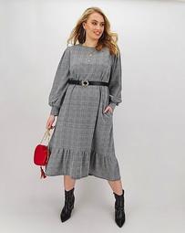 Check Ponte Midi Dress with Pockets