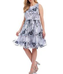 Tahari Asl Plus Size Floral Embroidered Metallic Party Dress
