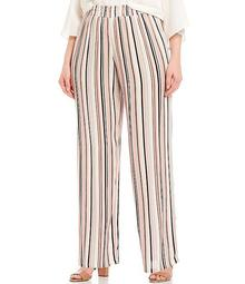 Plus Size Vertical Stripe Crepon Pull-On Palazzo Pants