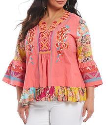 Plus Size Floral Multi Print 3/4 Sleeve Embroidery Ruffle Hem Blouse