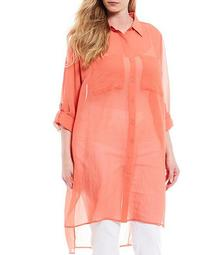 Plus Size Crosshatch Georgette Roll-Tab Sleeve Button Down Crossover Back Tunic