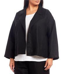 Plus Size Tencel Organic Linen Slub Open Front Jacket