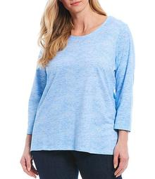 Plus Size Embellished Marled Knit Jersey 3/4 Sleeve Top