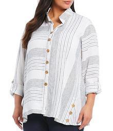 Plus Size Yarn Dye Mixed Stripe Linen Button Front Wire Neck Top