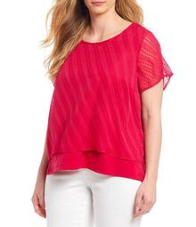 Plus Size Woven Short Sleeve Layered Top