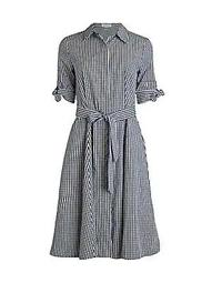 Belted Gingham Cotton Shirtdress