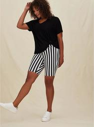 Black & White Stripe Bike Short