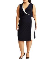 Plus Size Two Tone V-Neck Sleeveless Jersey Dress