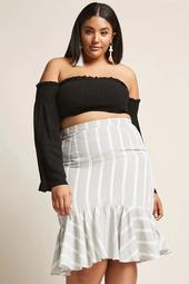Plus Size Stripe Skirt