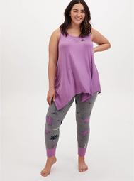 Lavender Purple & Grey Dinosaur Drawstring Sleep Pant