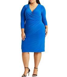 Plus Size Surplice Neck Ruched Detail Jersey Sheath Dress