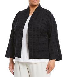 Plus Size Organic Cotton Shadow Squares High Collar Bracelet Sleeve Jacket