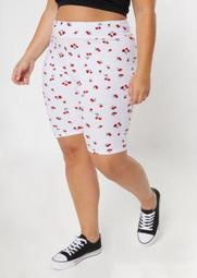 Plus White Cherry Print Super Soft Bike Shorts