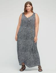 Dotted Faux-Wrap Maxi Dress