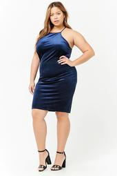 Plus Size Velvet Bodycon Cami Dress