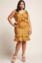 Plus Size Stripe Ruffle Dress