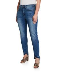 Plus Size Tummyless High-Rise Uneven-Hem Skinny Jeans