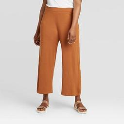 Women's Plus Size Cropped Wide Leg Sweater Pants - A New Day™ Brown