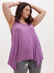 Lavender Purple Dino Jersey Handkerchief Sleep Tank