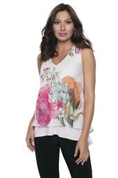 multi colored floral chiffon top