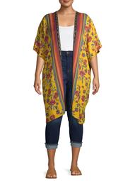 Romantic Gypsy Women's Plus Size Wide Sleeve Print Kimono