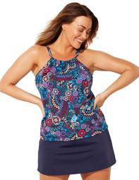 Swimsuits For All Women's Plus Size Cortland Highneck Skirtini 8 Multi Paisley