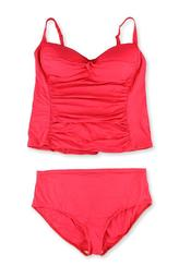 La Blanca Womens Twist Front Hi Rise 2 Piece Tankini, orange, 20W