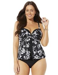 Swimsuits For All Women's Plus Size Faux Flyaway Underwire Tankini Set