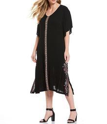 Plus Size Embroidered V-Neck Flutter Sleeve Midi Dress