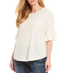 Plus Size Textured Dot Ruffle Elbow Sleeve Top