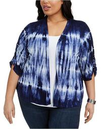 Plus Size Tie-Dyed Drawstring-Sleeve Top