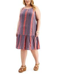 Plus Size Striped Drop-Waist Dress, Created for Macy's