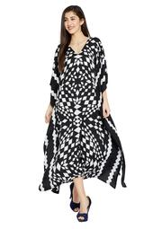 Black and White Kaftans for Women Geometric Plus Size Kaftan Dresses Women's Long Maxi Ladies Kimono Online by Oussum