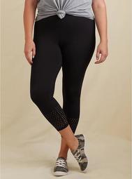 Crop Premium Legging - Perforated Hem Black