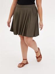 Super Soft Olive Green Mini Skater Skirt